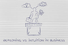 Reasoning vs intuition, businessman & obstacle Royalty Free Stock Photo