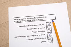 Reasons for joining a company. Concept - survey format Stock Images