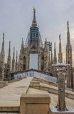 Reastauration of Madonnina,holy statue on Duomo cathedral roof Stock Photography