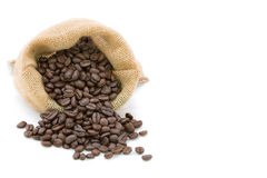 Reasted coffee bean in bag. With whith white isolated background stock photo