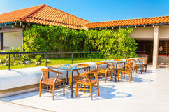 Reasturant on terrace of luxuary hotel Royalty Free Stock Photos