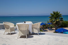 Reataurant terrace with the seaview Royalty Free Stock Images