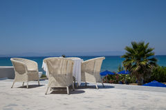 Reataurant terrace with the seaview Stock Photography