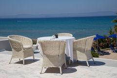 Reataurant terrace with the seaview Stock Images