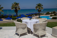 Reataurant terrace with the seaview Royalty Free Stock Photo