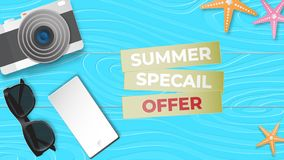 Reative illustration summer sale banner with sun glasses, camera, smartphone display, star fish on blue wood background paper cut. Creative illustration summer stock illustration