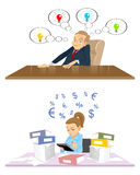 Сreativity director and accountant. Vector illustration of a creativity director and accountant Stock Photography