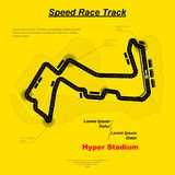 Reaver road circuit. Black road and sample text isolated on yellow background Royalty Free Stock Images