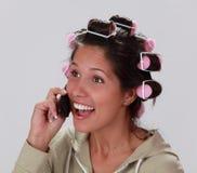 Reazione sul telefono Fotografia Stock