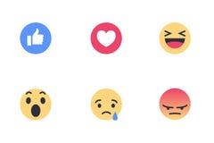 Reazioni di Facebook Fotografia Stock