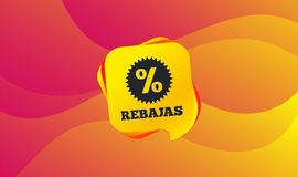 Rebajas - скидки в значке знака Испании звезда вектор иллюстрация штока