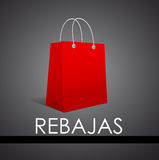 Rebajas - vente, texte d'Espagnol de remises Photo stock