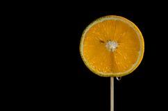 Rebanada anaranjada redonda en un palillo Fotografía de archivo libre de regalías