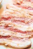 Rebanada cruda del cerdo para la barbacoa, comida japonesa, Yakiniku Fotos de archivo
