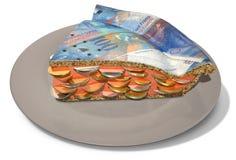 Rebanada de Franc Money Pie Foto de archivo