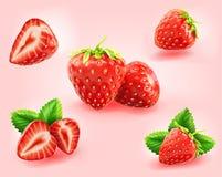 Rebanada de la fresa, medio, fresca con la hoja de la fresa aislada Imágenes de archivo libres de regalías