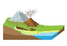 Rebanada de la tierra con paisaje stock de ilustración
