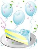 Rebanada de la torta de boda con el icono del confeti Foto de archivo libre de regalías