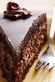 Rebanada de la torta de chocolate Fotos de archivo