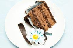 Rebanada de la torta de chocolate Imagen de archivo libre de regalías