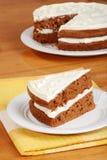 Rebanada de la visión superior de torta de zanahoria Fotos de archivo libres de regalías