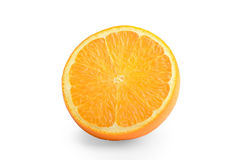 Rebanada de naranja aislada en el fondo blanco Consumición sana Co fotos de archivo libres de regalías