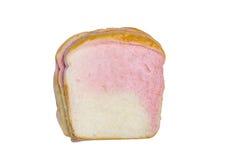 Rebanada de pan blanco y rosado aislado Foto de archivo