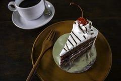 Rebanada de pastel de capas del chocolate con las bayas y la salsa de chocolate Fotos de archivo