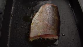 Rebanada de pescados rojos fritos en cacerola profunda metrajes