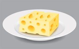 Rebanada de queso en una placa Ilustración del vector Imágenes de archivo libres de regalías