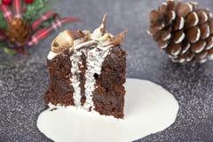 Rebanada de torta cubierta poner crema de la Navidad del chocolate con giros Imágenes de archivo libres de regalías