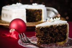 Rebanada de torta de la Navidad Imagen de archivo