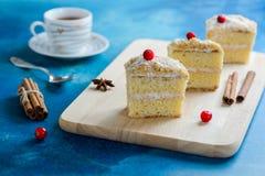 Rebanada de torta del mille-feuille con los arándanos y el relleno poner crema dulce imagenes de archivo