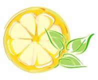 Rebanada del limón con las hojas. ilustración artística Imagen de archivo