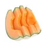 Rebanada del melón del cantalupo aislada Fotos de archivo libres de regalías
