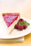 Rebanada hecha en casa del pastel de queso de la frambuesa Fotografía de archivo