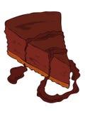 Rebanada oscura del pastel de queso. Foto de archivo