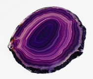 Rebanada translúcida pulida de ágata púrpura congregada Fotos de archivo libres de regalías