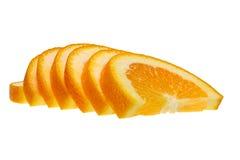 Rebanadas anaranjadas aisladas Imagen de archivo