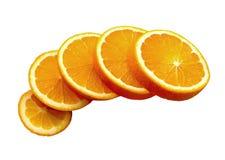 Rebanadas anaranjadas aisladas Fotos de archivo libres de regalías