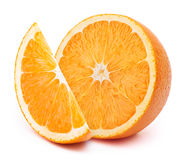 Rebanadas anaranjadas aisladas en blanco Imagen de archivo libre de regalías
