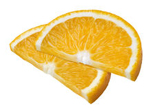 2 rebanadas anaranjadas aisladas en el fondo blanco Fotografía de archivo