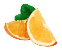 Rebanadas anaranjadas con la hoja aislada en el fondo blanco Fotografía de archivo