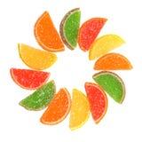 Rebanadas anaranjadas escarchadas multicoloras. foto de archivo libre de regalías
