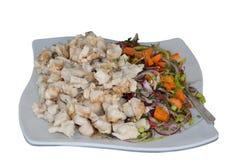 Rebanadas cocidas de pescados con una ensalada de las zanahorias, cebollas, eneldo y perejil, aislados en el fondo blanco Imagen de archivo