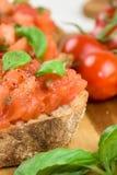 Rebanadas de baguette tostado con el tomate - bruschetta Foto de archivo libre de regalías