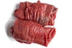 Rebanadas de carne de vaca cruda fresca Foto de archivo libre de regalías