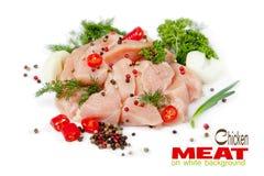 Rebanadas de carne del pollo en el fondo blanco Fotografía de archivo libre de regalías
