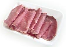 Rebanadas de la carne en lata plegables Foto de archivo libre de regalías