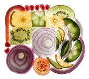Rebanadas de la fruta y verdura Fotografía de archivo